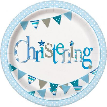 8 Blue Christening Paper Party Plates